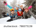 happy young friends on skiing... | Shutterstock . vector #788375158