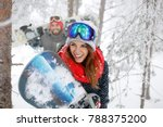 woman with snowboard in forest... | Shutterstock . vector #788375200