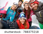 cheerful friends together at... | Shutterstock . vector #788375218