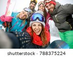cheerful girl on skiing with... | Shutterstock . vector #788375224