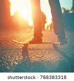 silhouette of skateboarder... | Shutterstock . vector #788383318