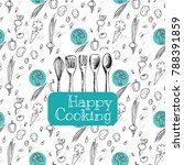 happy cooking words with... | Shutterstock .eps vector #788391859