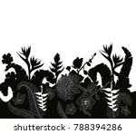 tropical leaves and flowers... | Shutterstock .eps vector #788394286