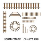 straight and curved railroad... | Shutterstock .eps vector #788395108
