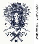 tribal indian woman and guns... | Shutterstock .eps vector #788400820