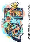 human skull and old audio... | Shutterstock .eps vector #788400928