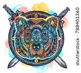 bear tattoo and t shirt design | Shutterstock .eps vector #788401360