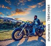 biker on a classic motorcycle...   Shutterstock . vector #788414464