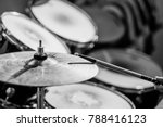 Drummer Plays The Drums. Black...
