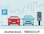 parking lot with two cars and...   Shutterstock .eps vector #788432119