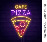 Pizza Cafe Neon Sign. Pizza...