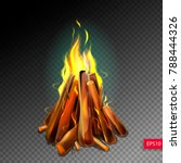 realistic burning bonfire with... | Shutterstock .eps vector #788444326