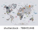 Stock vector world map with wild animals living on various continents and in oceans cute cartoon mammals 788451448