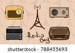 isolated old radios with radio... | Shutterstock .eps vector #788455693