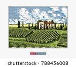 hand drawn landscape. antique... | Shutterstock .eps vector #788456008