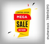 mega sale yellow banner design. ... | Shutterstock .eps vector #788456593