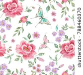 Stock vector embroidery trend floral seamless pattern with roses violets and exotic butterflies vector 788460370