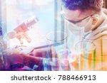 double exposure of scientist or ... | Shutterstock . vector #788466913