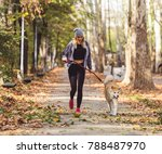Jogger And Akita Dog Running...