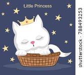 Little White  Cat In Cradle. ...