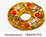 whole king cake with sour... | Shutterstock . vector #788496793