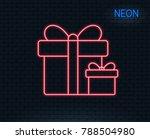 neon light. gift boxes line... | Shutterstock .eps vector #788504980