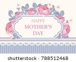 shabby chic background  roses... | Shutterstock .eps vector #788512468