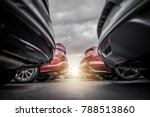 Car Dealership New and Pre Owned Vehicles Stock. Automotive Industry Concept Photo - stock photo