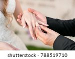 wedding rings and hands of... | Shutterstock . vector #788519710
