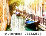canal with two gondolas in... | Shutterstock . vector #788522539