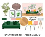 vector interior design... | Shutterstock .eps vector #788526079