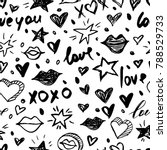 vector doodle romantic seamless ... | Shutterstock .eps vector #788529733