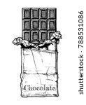 chocolate bar in foil and... | Shutterstock .eps vector #788531086