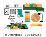 vector interior design... | Shutterstock .eps vector #788534266