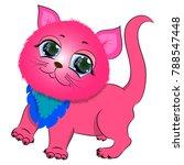 pink cute kitten vector  | Shutterstock .eps vector #788547448