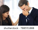 young businessman with tears of ... | Shutterstock . vector #788551888