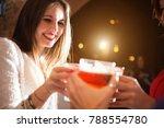 friends drinking in a pub | Shutterstock . vector #788554780