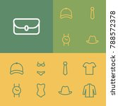 clothes icons set with swimwear ...