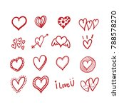 heart doodles set. vector... | Shutterstock .eps vector #788578270