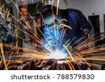male worker wearing protective... | Shutterstock . vector #788579830