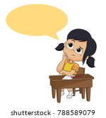 kid thinking.vector and... | Shutterstock .eps vector #788589079