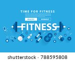 fitness concept workout with... | Shutterstock .eps vector #788595808