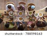 top view of happy people... | Shutterstock . vector #788598163