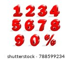 set of red numbers 1  2  3  4 ... | Shutterstock .eps vector #788599234