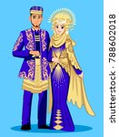 blue padang muslim wedding. | Shutterstock .eps vector #788602018