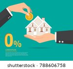 hand in hand with a house in... | Shutterstock .eps vector #788606758