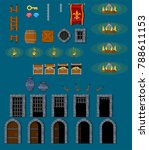 collection of various objects... | Shutterstock .eps vector #788611153