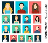 avatar and face flat icons in... | Shutterstock .eps vector #788611330