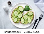 toasts with mashed avocado and... | Shutterstock . vector #788624656