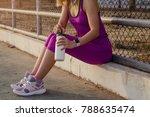 tired woman runner taking a... | Shutterstock . vector #788635474